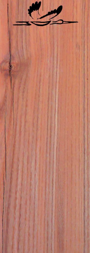 Eschenholz Schnitt mit Jahrringen und einem Storch, dessen Körper aus den Initialen M.D. besteht, als Logo